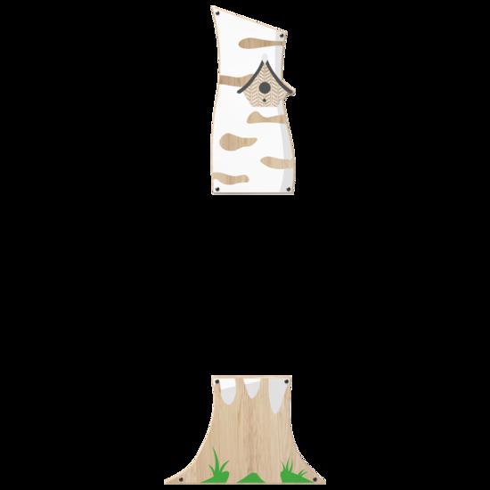 in de vorm van een neutrale berkenboom voor een wandspel aan een muur | IKC wandspellen speelsystemen