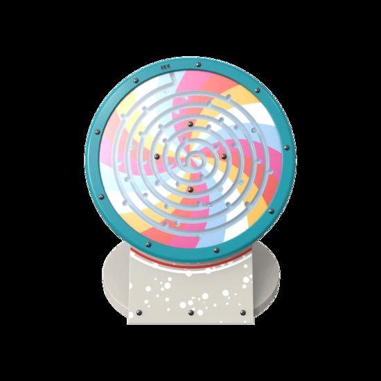 speelsysteem heeft de vorm van een satelliet, en bevat een leuk, kleurrijk speelwiel om mee te spelen. Dit speelelement kan apart worden geplaatst, of als onderdeel van een volledige speelhoek.