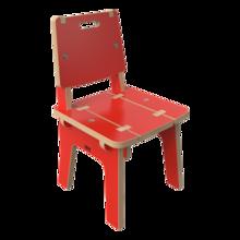 houten rood kinderkrukje voor in de kinderhoek met rugleuning