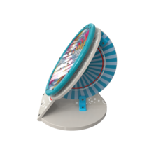 de vorm van een satelliet, en bevat een leuk, kleurrijk speelwiel om mee te spelen